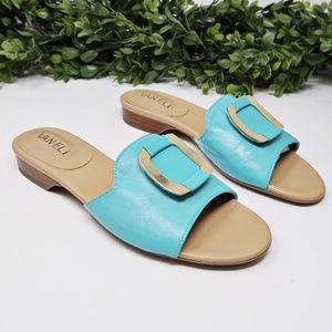 Vaneli Slip On Open Toe Flats Turquoise Sandals 6